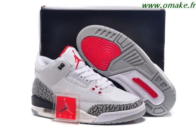 la meilleure attitude 7cf44 086e4 Nike Air Jordan 3 Femme Rouge Blanc Noir omake.fr
