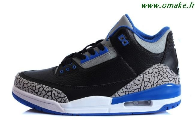 jordan 3 noir bleu